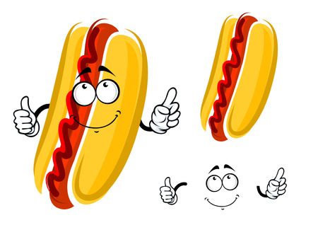 yellow character: Cartoon hot dog character with ketchup and whole wheat bun showing thumb up gesture, for fast food, cafe, menu or logo design