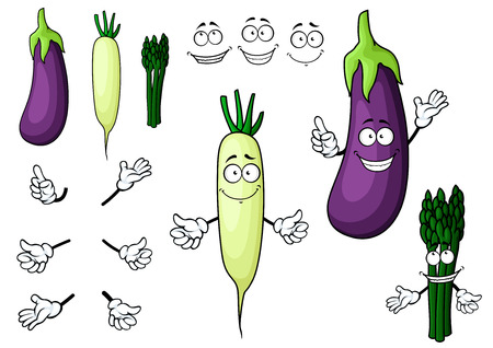haulm: Cartoon fresh eggplant, white radish and bunch of asparagus vegetables characters isolated on white background for agriculture or vegetarian food design Illustration