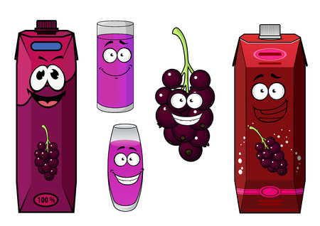 violet red: Black currant juice cartoon characters with red and violet cardboard juice packs, glasses with beverages and currant berries with happy smiles for food pack design