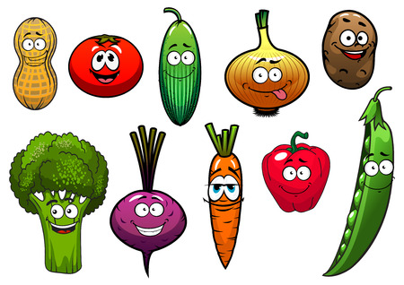 zanahoria caricatura: Personajes de dibujos animados verduras con tomate, zanahoria, pepino, cebolla, patata, pimiento, brócoli, remolacha, cacahuete, guisante para la agricultura o el diseño vegetariana alimentos frescos Vectores