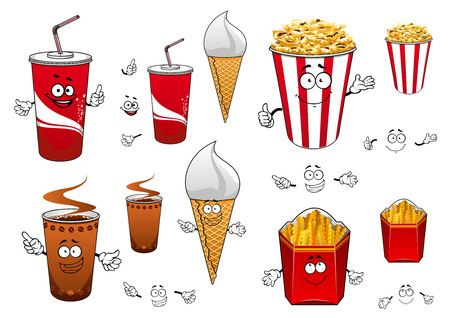 leisure activity: Fast food cartoon characters with funny coffeeand soda cups, ice cream waffle cone, pop corn bucket, box of french fries for leisure activity or fast food concept design