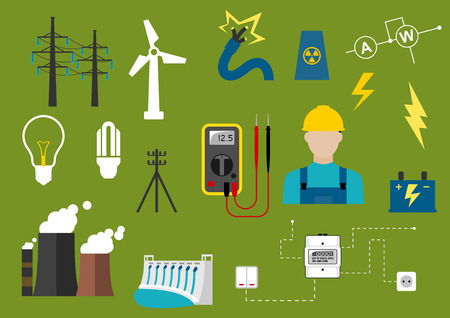 electrical safety: Electricity industry flat infographic icons including power generation and transportation, electrical engineering and professional electrician symbols