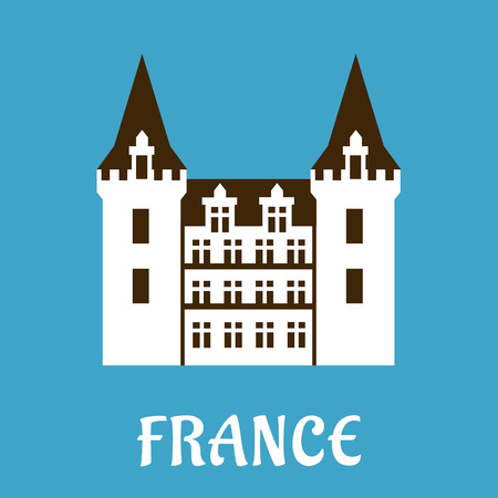 turret: Renaissance castle in France with light color facade and pointed turrets. Flat style illustration for travel design