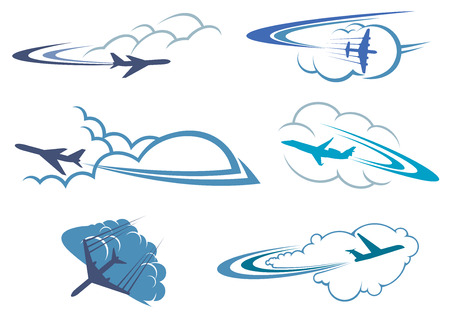 blue clouds: Airplane symbols in the sky among white and blue clouds with curved traces for travel or transportation design, isolated on white background Illustration