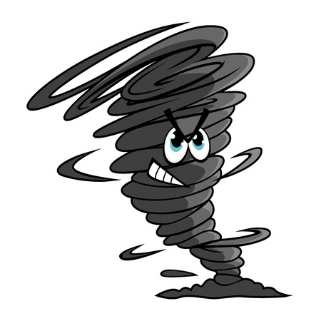narrow: Danger dark gray tornado funnel cartoon character encircled by a cloud of dust at the narrow end for weather or mascot design
