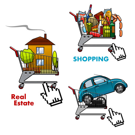 cursor hand: Shopping carts loaded by food and drinks, new car and real estate with cursor hand icons for online shopping and real estate e-commerce concept