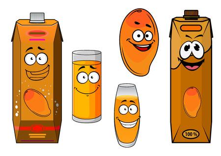 succo di frutta: Mango frutta e succhi di cartoni animati divertenti personaggi dolci con arancia tropicale mango frutta, bicchieri e confezioni di cartone di succo naturale per il design pacco alimentare