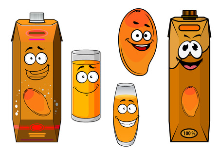 Funny sweet mango fruit and juice cartoon characters with tropical orange mango fruit, glasses and cardboard packs of natural juice for food pack design Illustration