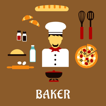 toque: Baker profession flat concept with man in toque, pizza, baguette, croissants, milk, eggs, dough, chopping board, cutlery, salt, pepper and pot