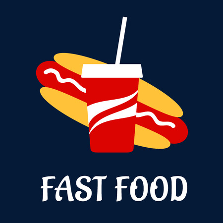 carbonated: Fast food hot dog and paper cup of soda flat icon with sausage, mayonnaise and carbonated sweet drink in a takeaway red cup Illustration