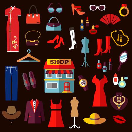 Winkelen, mode en beauty vlakke pictogrammen met winkel gebouw, vrouwen en mannen kleding, schoenen, hoeden, tassen, zonnebrillen, horloge, sieraden en cosmetica