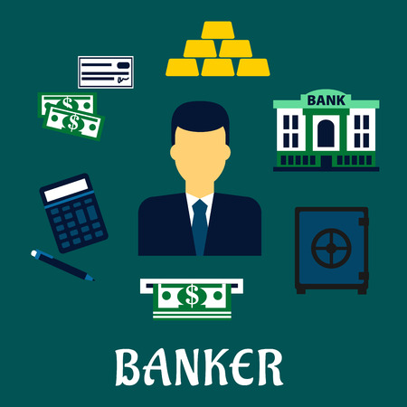 banker: Banker profession concept with man in elegant costume and necktie among dollar bills, stacked gold bars, bank cheque, bank building, calculator, pen, ATM and safe icons Illustration