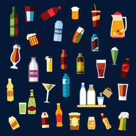 bebidas alcohÓlicas: Bebidas o bebidas bebidas no alcohólicas y alcohólicas con botellas de agua, vino, cerveza, refrescos, zumos, leche, tazas de café, envases de cartón, ale tazas, jarra con ponche de frutas, vasos de cóctel