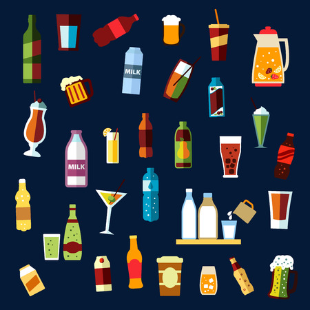 ale: Beverages or drinks non alcoholic and alcoholic drinks with bottles of water, wine, beer, soda, juice, milk, coffee cups, carton packs, ale mugs, jug with fruit punch, cocktail glasses Illustration