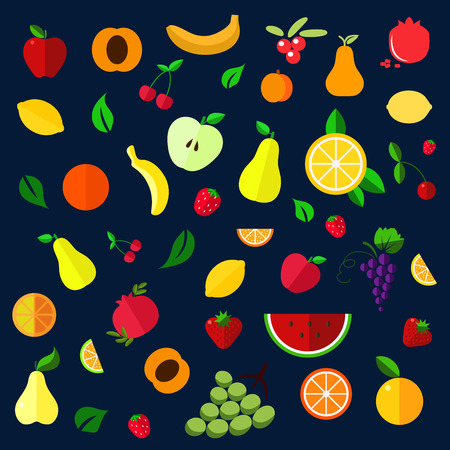 apples and oranges: Fruits and berries flat icons with whole and sliced apples, bananas, pears, apricots, pomegranates, lemons, oranges, cherries, grapes, strawberries, cranberries and watermelon Illustration