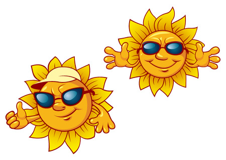 suns: Smiling summer suns cartoon characters in sunglasses with welcome open arms for leisure and travel design