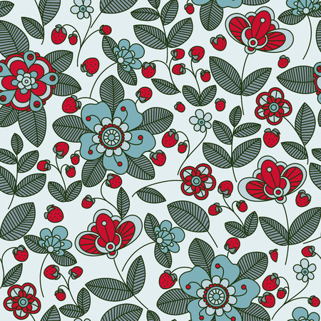 stylised: Wild strawberry bush seamless pattern background with stylized flowers and bright berries in red and blue colors, for retro wallpaper, interior or textile design Illustration