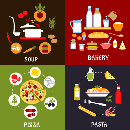 pasta: Cooking process of pizza, pasta, soup and bakery with healthy fresh ingredients, vegetables, cheese, fish, sausage, dairy products, sauces and olive oil