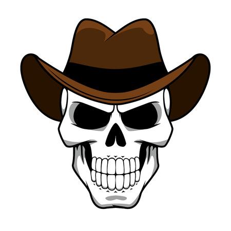 Spooky cowboy schedel karakter met klassieke bruine vilten hoed in cartoon stijl voor tattoo, halloween partij of t-shirt design