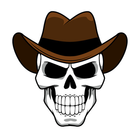 Spooky cowboy skull character with classic brown felt hat in cartoon style for tattoo, halloween party  or t-shirt design