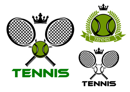 cross match: Tennis cup or club emblems with green tennis balls, crossed rackets, crowns on tops, laurel wreath and ribbon banner Illustration
