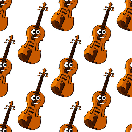fiddle: Cartoon violin characters seamless pattern for musical and art background design Illustration
