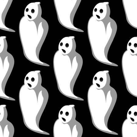 eye sockets: Terrifying white ghosts silhouettes seamless pattern with open mouths and empty eye sockets on black background for Halloween party design