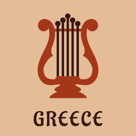 lyra: Ancient greek classic lyre icon in flat style showing musical string instrument with caption Greece below