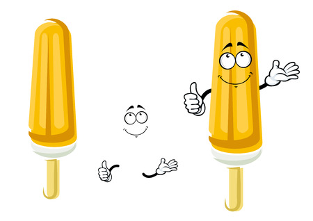 wooden stick: Happy orange popsicle cartoon character on wooden stick with vanilla ice cream covered by fruity ice for snack food design