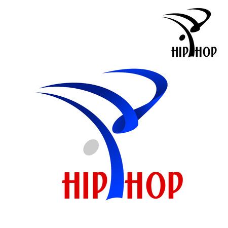 modern  dance: Hip hop dancer abstract blue silhouette doing acrobatic trick, for sporting or modern dance emblem design Illustration