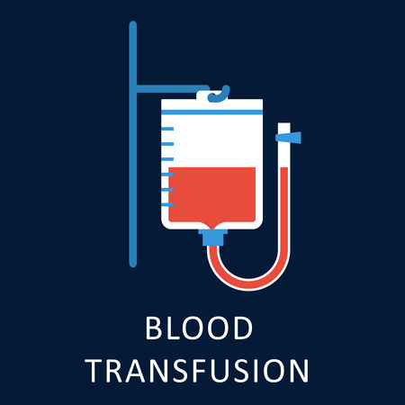 rh: Blood transfusion flat icon with blood bag hanging on hook of a stand for medicine and healthcare concept design