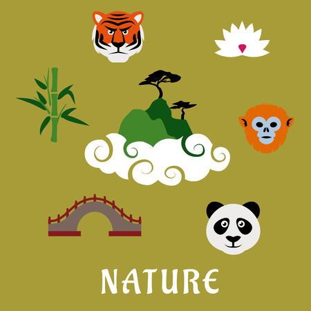bridge in nature: Nature and wildlife of China flat icons of mountain top in clouds with pines, surrounded by panda, tiger, golden snub nosed monkey, lotus flower, ancient bridge and bamboo icons Illustration