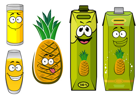 pineapple juice: Funny pineapple juice cartoon characters with green juice packs, glasses and tropical pineapple fruit for beverage or food pack design Illustration