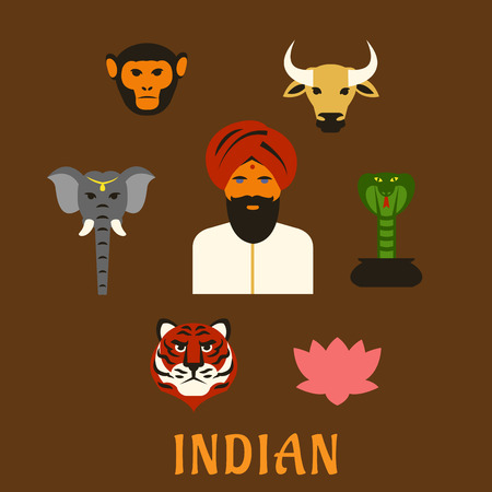 worship: Indian animals of worship and national symbols in flat style with indian man in turban with holy cow, elephant, cobra, monkey and lotus, tiger as national animal and flower symbols