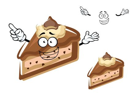 buttercream: Felice cheesecake al cioccolato carattere fetta dei cartoni animati con gocce di cioccolato e burro di turbolenza sulla parte superiore per pasticceria o di design festa di compleanno