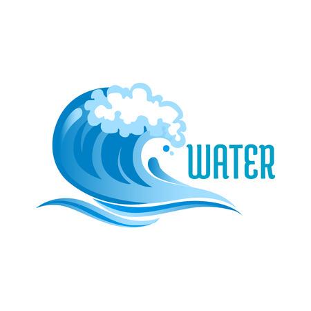 Las olas del océano azul con las burbujas de espuma y olas aisladas sobre fondo blanco con el texto del Agua Foto de archivo - 41627144