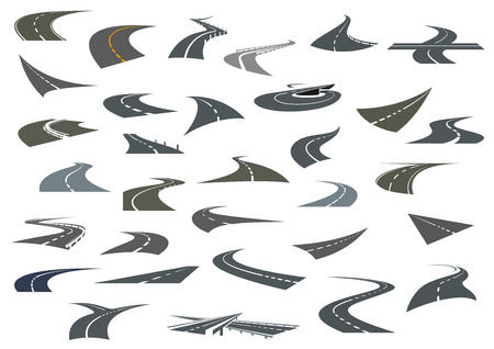 winding road: Road symbols with winding highways, forked pathways and crossroads for transportation or travel design