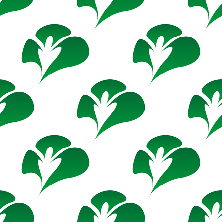 seamless clover: Foliage retro seamless pattern with abstract green clover leaves on white background, for wallpaper or fabric design Illustration
