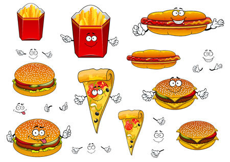 Cartoon cute fast food characters with french fries box, pizza slice, hotdog with ketchup and mustard, hamburger and cheeseburger for takeaway food design
