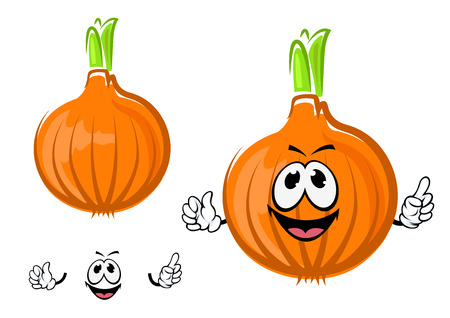 spicy mascot: Happy golden onion vegetable cartoon character with round bulb and green sprouted leaves, for agriculture or healthy food design, isolated on white