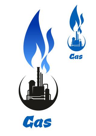 gas flame: Impianto di trattamento del gas naturale o di raffineria di petrolio icona nera con alta fiamma del gas blu sulla parte superiore per il petrolio e del gas progettazione