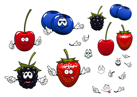 blueberry: Sweet garden strawberry, blackberry, cherry and blueberry fruits cartoon characters with thumb up and pointing gestures for agriculture or healthy food design