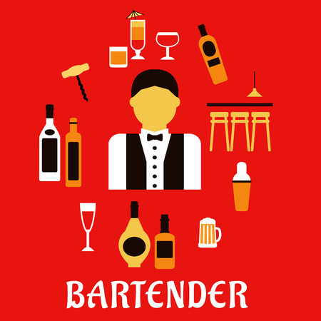 bartender: Bartender profession flat concept with bar counter, alcohol bottles, shaker, corkscrew, cocktails, beer tankard, wine glass and male in uniform with bow tie Illustration