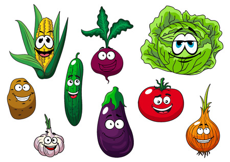 Corn cob, potato, cucumber, tomato, onion, eggplant, garlic, cabbage and beet cartoon vegetables characters for healthy food or agriculture design