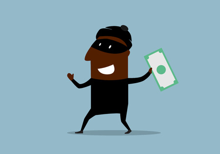 stolen: Happy african american thief in mask and costume with stolen dollar bill in hand. Cartoon flat style