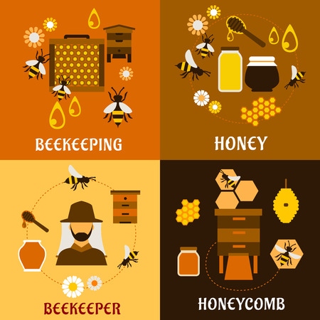 bee: Honey and beekeeping industry design with beekeeper, apiculture icons such as flying bees, beehives and frames, honeycombs, honey jars with dippers and flowers