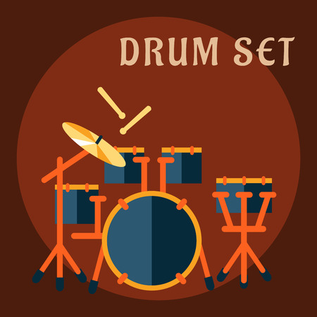 bass drum: Drum set with sticks in flat style with modern drum kit consist of snare drum on a stand, tom-toms mounted on bass drum, floor tom and ride cymbal for music design
