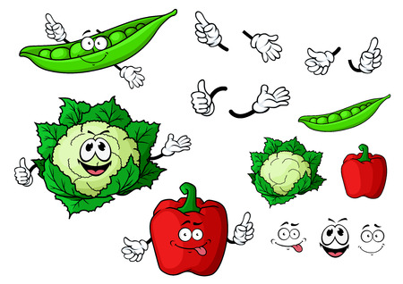 pea pod: Funny fresh cartoon cauliflower, red bell pepper and pea pod vegetables characters with thumb up gestures for vegetarian healthy food or agriculture design
