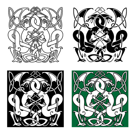 entwined: Medieval dragons with entwined tails and wings in traditional celtic knot ornaments for tattoo or heraldry design