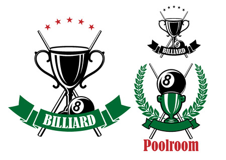 cues: Billiards and pool emblem designs with black and green trophy cups, stars, eight billiards ball and crossed cues, framed by laurel wreath and ribbon banners